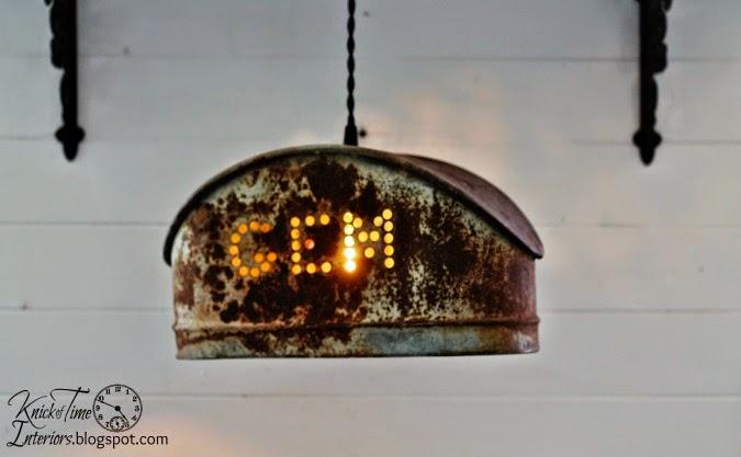 Vintage Repurposed Salvaged Metal Hanging Light via http://knickoftimeinteriors.blogspot.com/