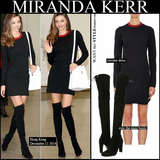What She Wore Miranda Kerr In Black Mini Sweater Dress With Black