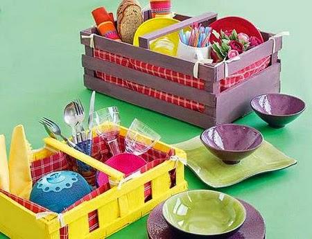 Organizador con cajas de fruta - Cajas de fruta ...