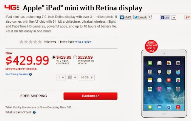 Verizon is offering iPad Mini with Retina for $429.99 and it will ship by Nov 25th