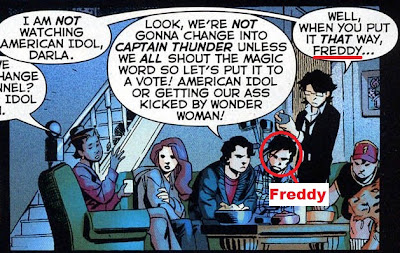 Freddy is also the one clearly talking and gesturing, as per the art.