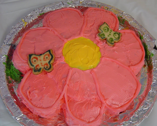Pink Flower Cake with Butterfly Cookies