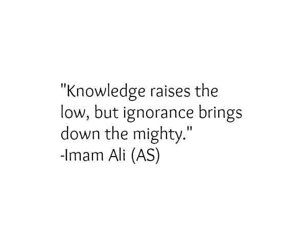 Knowledge raises the low, but ignorance brings down the mighty.