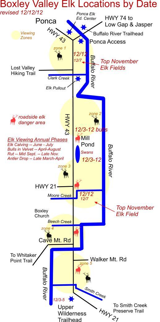 12/12/12 Elk Herd Locations in Boxley Valley