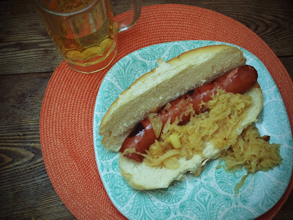 Slow Cooked Beer and Brown Sugar Kielbasa w/ Kraut (Game Day Recipe)