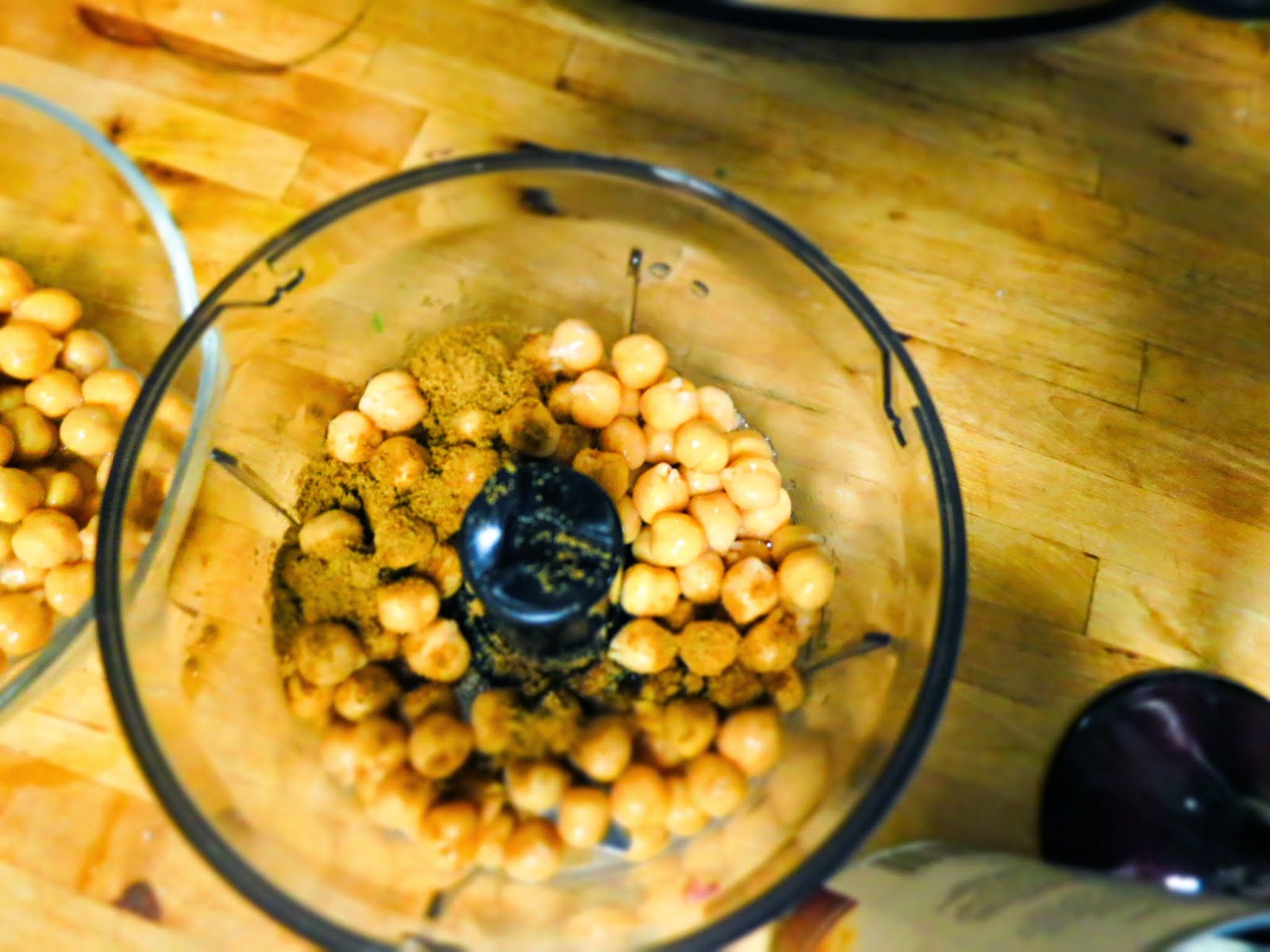 Rinse your chickpeas, pat dry, put in a blender or food processor ...