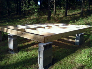 Masonry blocks and platform joists ready for plywood subflooring & Tent Living: April 2012