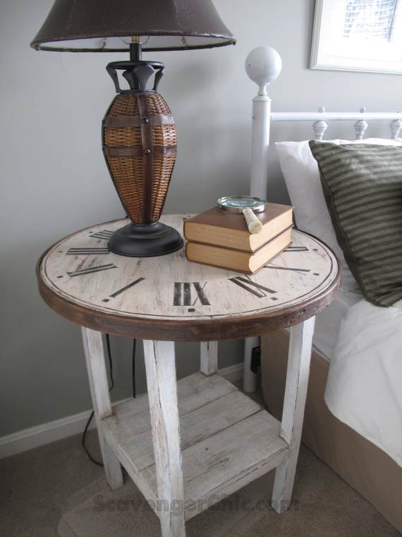 Treasure Hunt Thursday- DIY Clock Table- Scavenger Chic-From My Front Porch To Yours- Weekly Blog Link Up Party