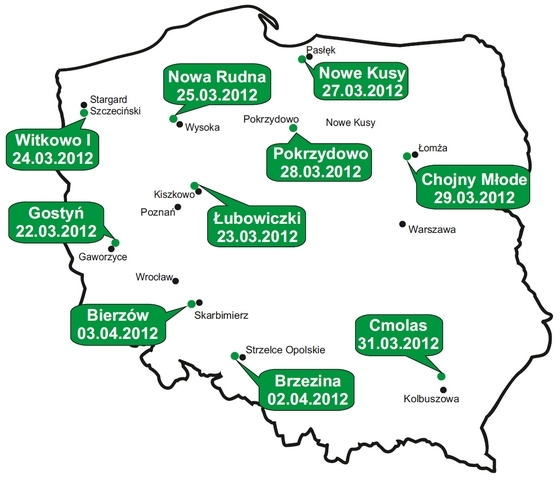 Mapa pokazów FENDT DEMO TOUR 2012