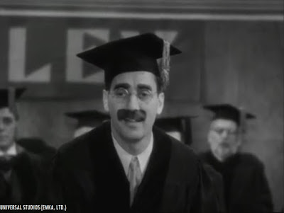 "Groucho Marx in ""Horse Feathers"" (1932).  Originally produced and released by Paramount Pictures, the film would be one of many pre-1948 sound Paramount features that would be sold to MCA in the late 1950's (the talent agency-turned-television production/syndication powerhouse would use the money made from the sale of the pre-48 Paramounts to local TV stations, which enabled MCA to acquire American Decca Records, owners of Universal Studios in 1962)."