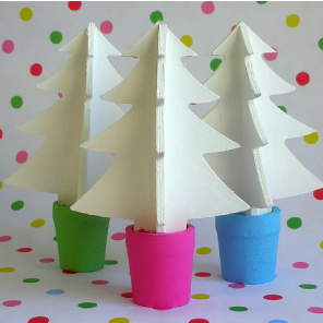Hand painted wooden Christmas trees by Torie Jayne
