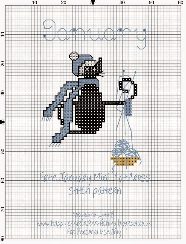 January mini cat cross stitch pattern by Lynn B