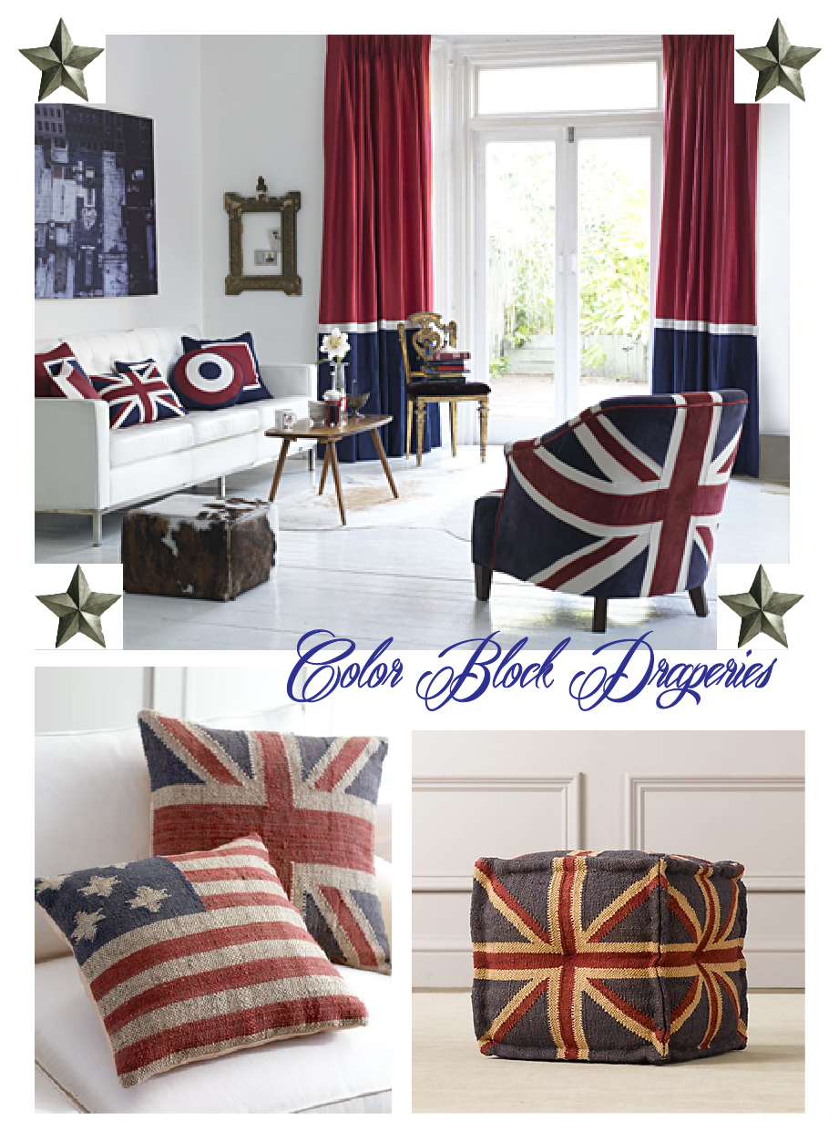 Room by Moghul Interiors Pillows by Horchow Ottoman by Restoration Hardware & Finestra Decorative Hardware: Interiors: Patriotic Design