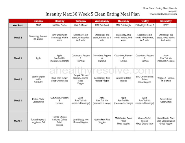 Insanity Max30 Clean Eating Meal Plan
