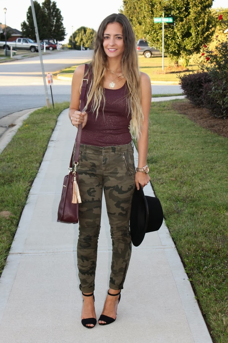 Game Day Outfit Oxblood + Camo