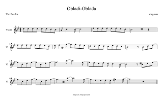 diegosax partituras Obladi-Oblada de The Beatles Partitura de Obladi oblada para Flauta en la escuela, Saxofón, Trompeta, Violín, Clarinete, Trombón, Saxo Tenor y Flauta dulce o travesera Partitura para Tuba, Soprano Sax, Oboe, Cello o Chelo, Viola, Corno Inglés, Trompeta...Curioso Origen de la canción Obladi oblada The Beatles (Obladi-oblada sheet music)
