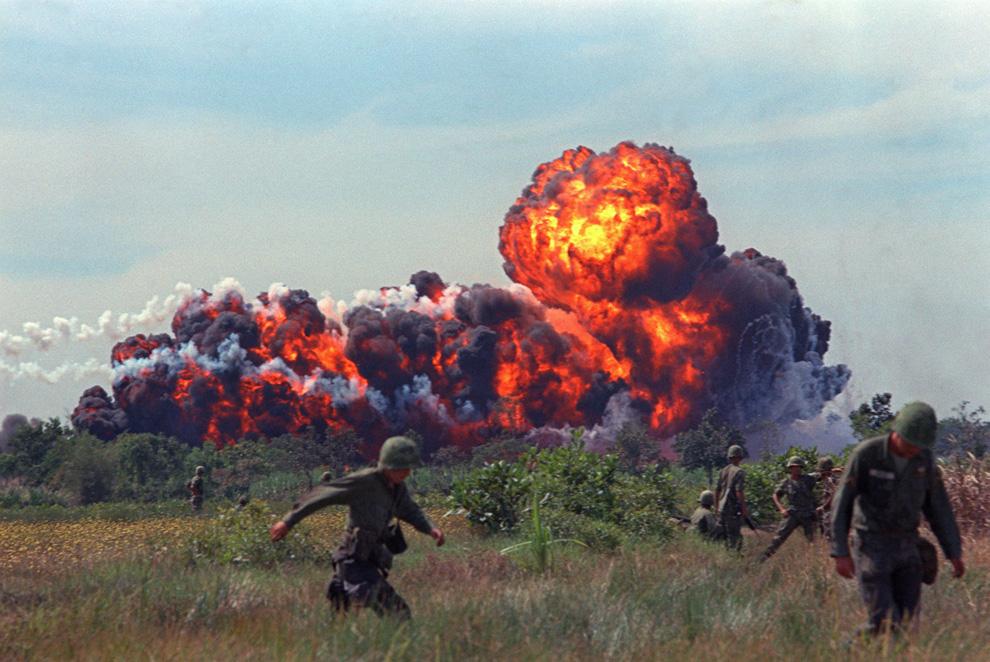 Napalm Vietnam Girl. A napalm strike erupts near