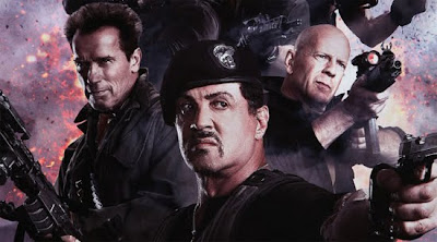 Expendables 2 Movie starring Sylvester Stallone, Bruce Willis, Arnold Schwarzenegger and Chuck Norris.
