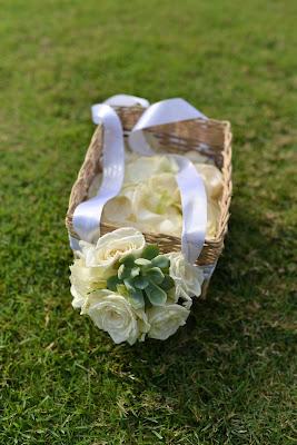 rose petals inside basket for flower girl