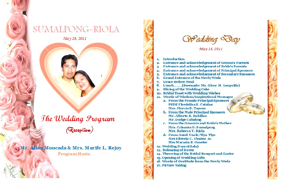 Beautiful Wedding Reception Programs Sample