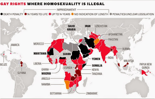 Map showing penalty for homosexuality