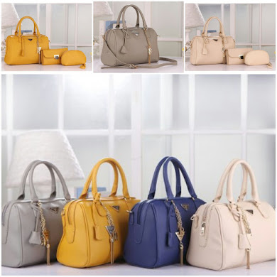 PRADA BAG ( 2 IN 1 SET ) - MUSTARD , CREAM