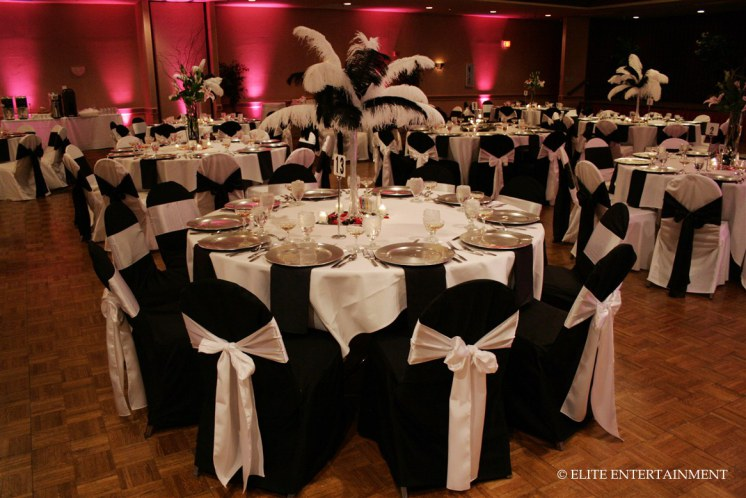 Black and White Formal New Year's Eve Chair Covers by Elite Mobile DJ