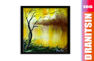 Magical Glow effect ABSTRACT landscape painting, elegant tree, glowing grass, 106