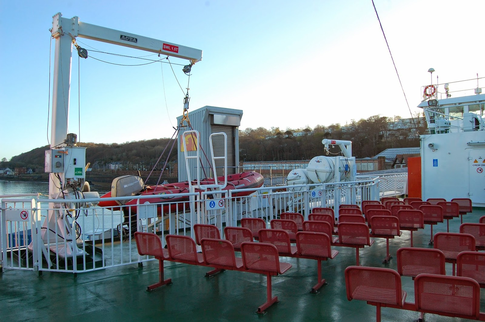 Outdoor seating on a Caledonian MacBrayne ferry boat