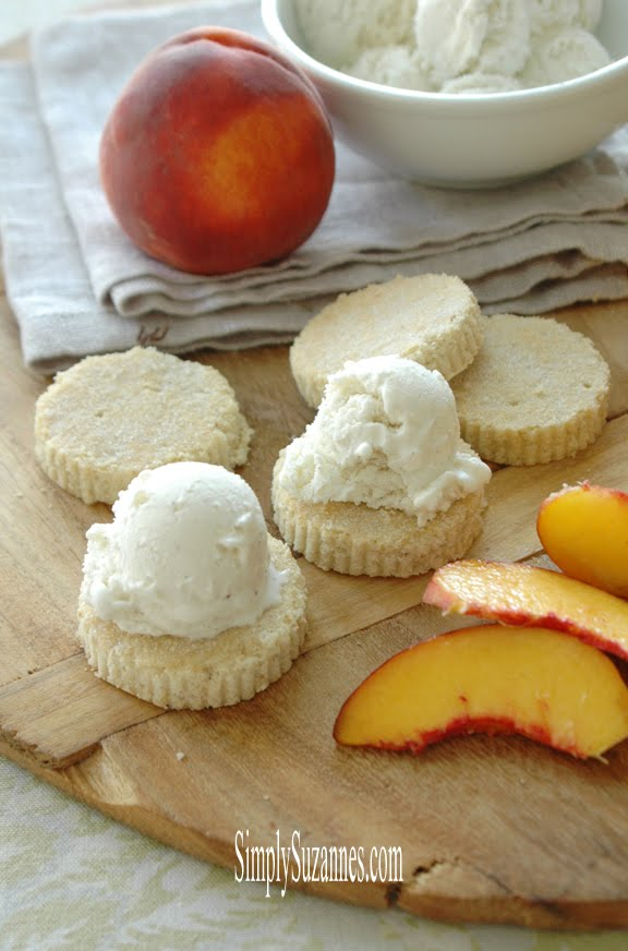 peaches & cream on homemade shortbread cookies