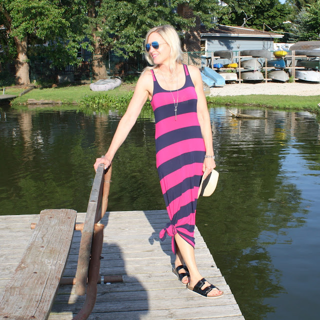 Old Navy striped maxi dress with knotted hem