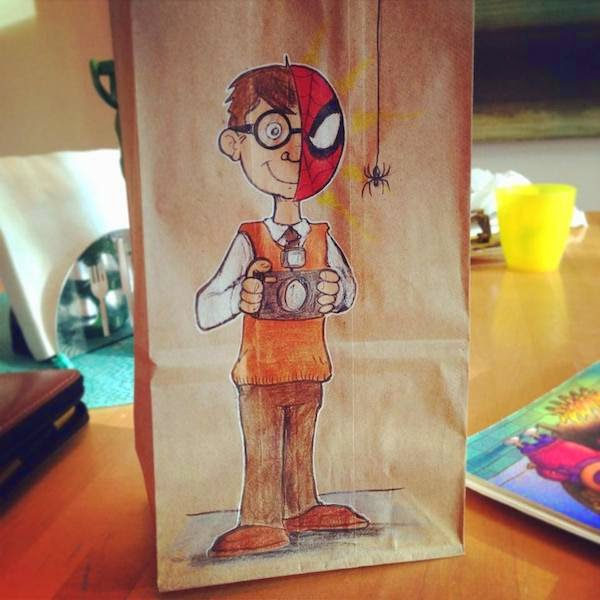 cartoon on lunch bags