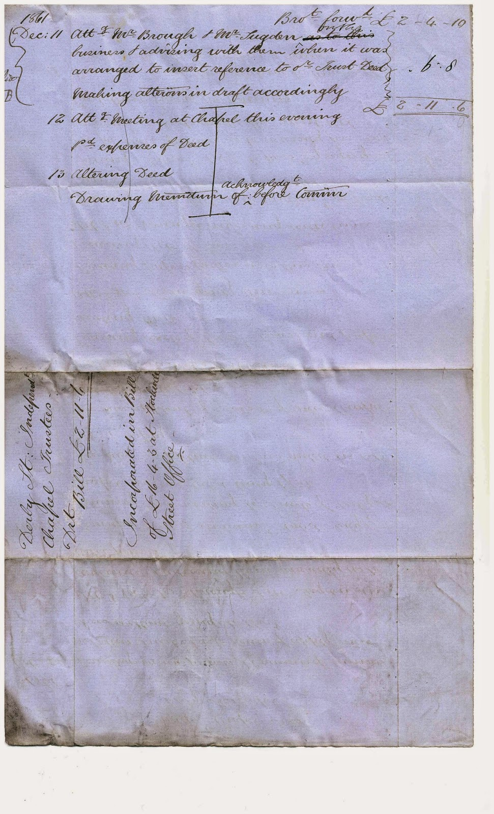 Handwritten Draft Bill for Derby Street, Independent Chapel Trustees, 1861, Page 3