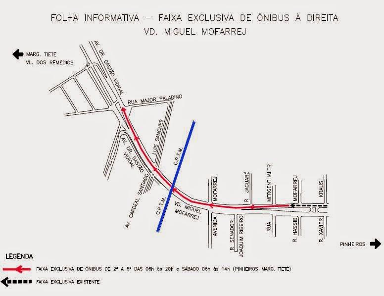 Faixa exclusiva para ônibus no Viaduto Miguel Mofarrej