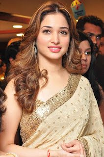 Ravishing Tamanna Bhatia in lovely Cream Saree with Lace Border and Sequence Work