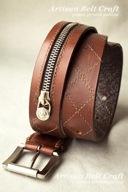 кожаный ремень с молнией