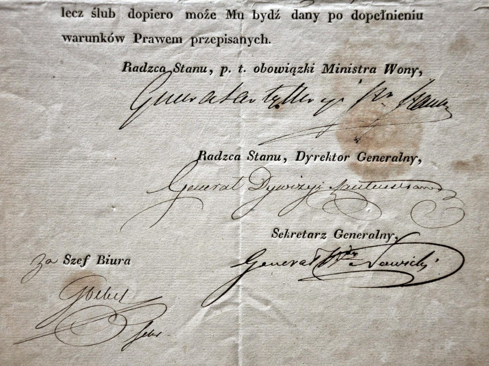 Dokument z 1829 r. - Pozwolenie na ślub porucznika Józefa Grabińskiego z konecką panną wyraziła Komisya Rządowa Woyny. Musiała być to ważna sprawa skoro widnieje kilka podpisów generalskich. Dokument z 12.08.1829 w zbiorach KW.