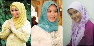 jilbab segi empat dan inner ciput ada juga yang menggunakan jilbab