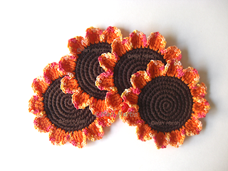Crochet Coasters Autumn Daisies