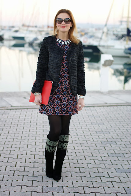 Zara starry print dress, fake fur jacket, rockstar look, Fashion and Cookies, fashion blogger