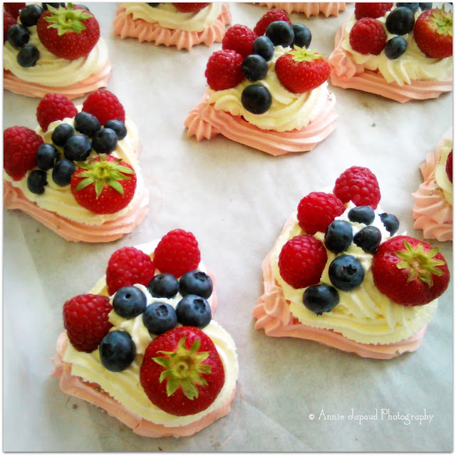 Mini Heart Shaped Pavlovas topped with fresh berries