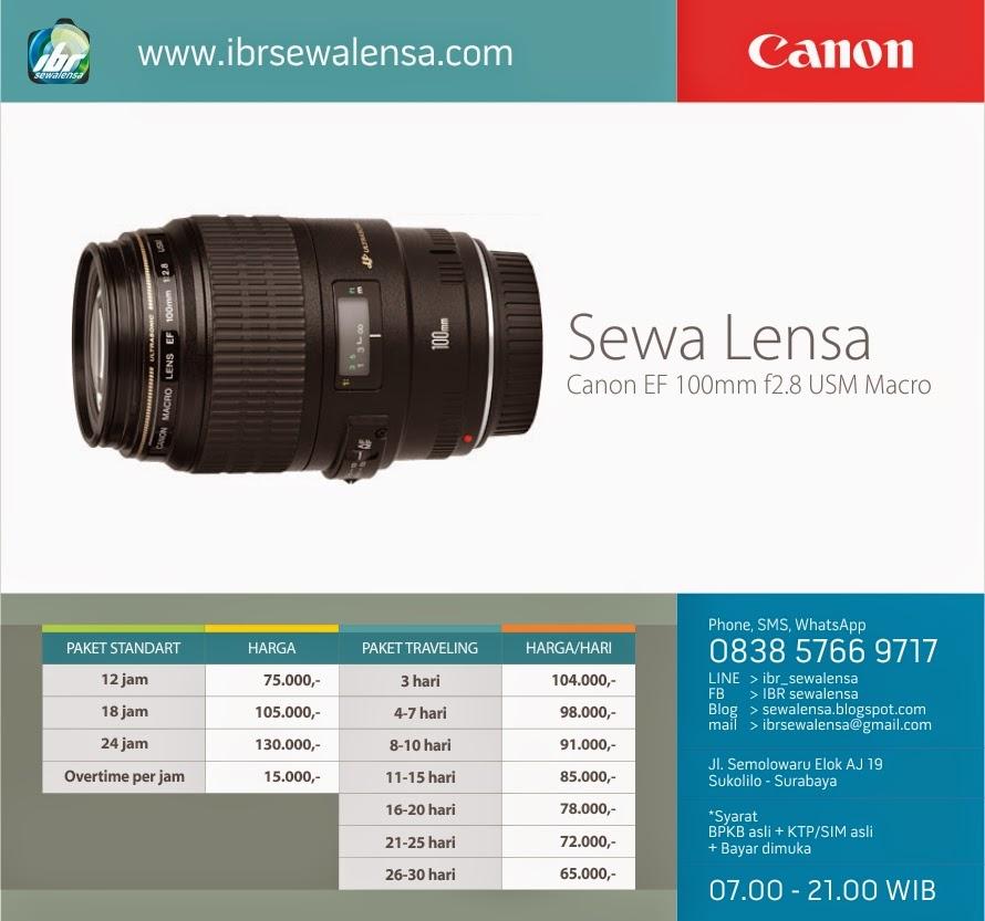 Harga sewa lensa Canon 100 mm F2.8 USM Macro