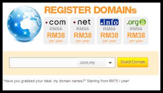 daftar domain serendah RM38/year
