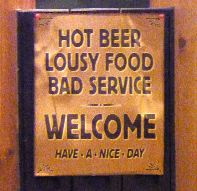 funny bar sign - bad service