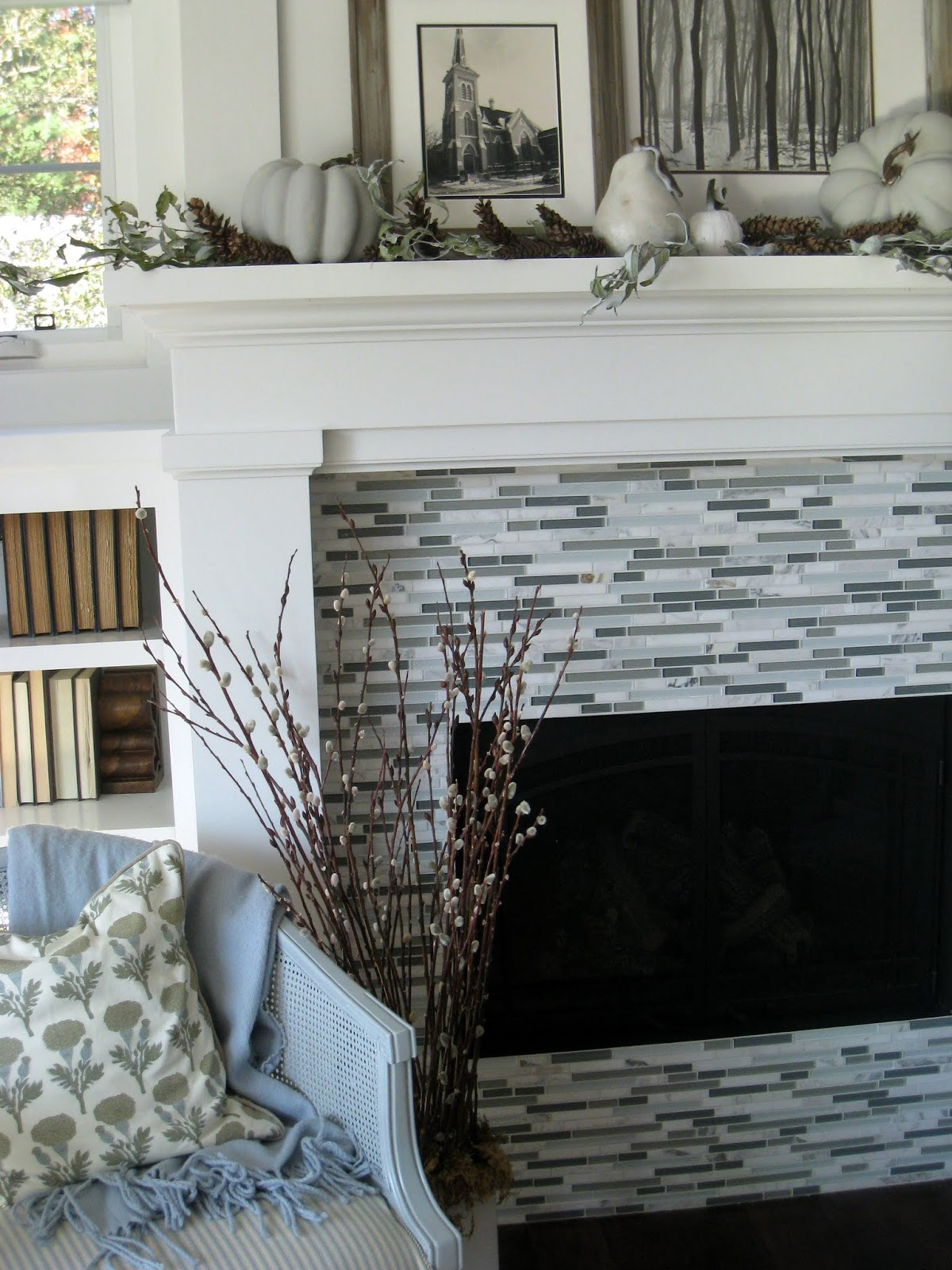 Here Is A Close Up Of Our Fireplace Tile My Husband Wanted Glass Tile