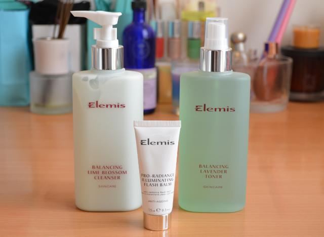 Elemis balancing lime blossom cleanser, Elemis balancing lavender toner, Elemis pro radiance illuminating flash balm