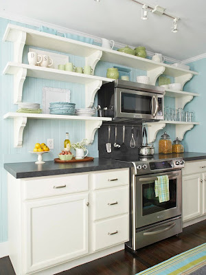 Over The Range Microwave And Open Shelving on cabinets around refrigerator ideas