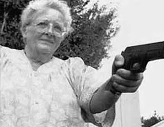 Very Old Lady with a Gun in Hand