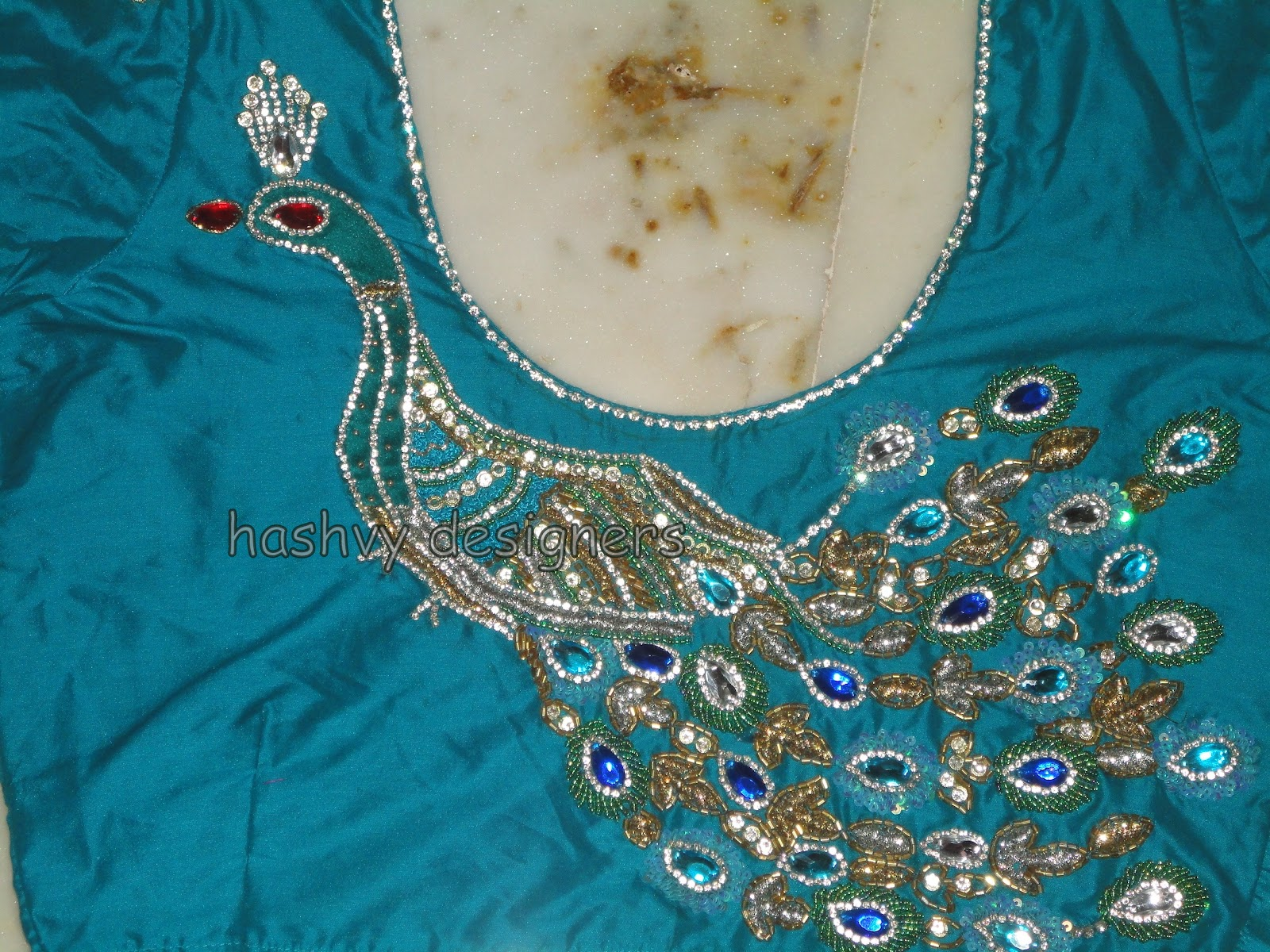 Aari Zardosi Beads Embroidery Beautiful Hand Design Blouse