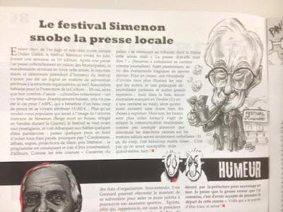 Caricature de Didier Gallot - Laire des Sables d'Olonne - festival Simenon. Parution, le Sans-Culotte 85. Guillaume Néel©